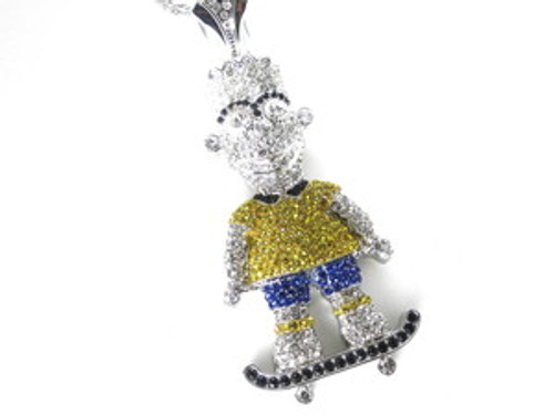 """USA Bart Simpson NEW YELLOW AND BLUE SILVER Iced Pendant"