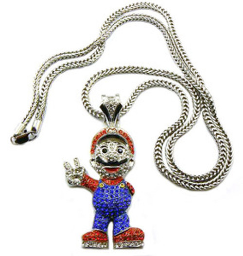 Mario all iced out pendant and chain combo the black bat mario all iced out pendant and chain combo aloadofball Choice Image