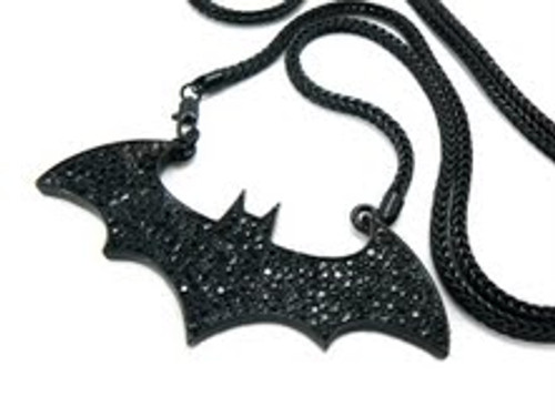 """New Black Bat pendant  FREE 36"" Black Franco Chain"