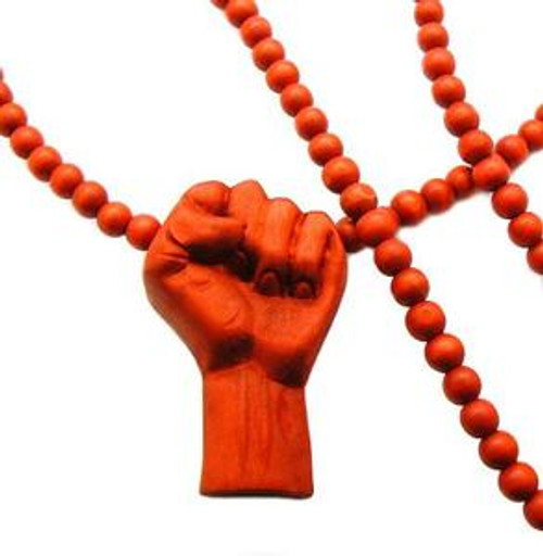 """""""RED Power Fist Pendant w/ FREE 36"""" Beaded Chain"""