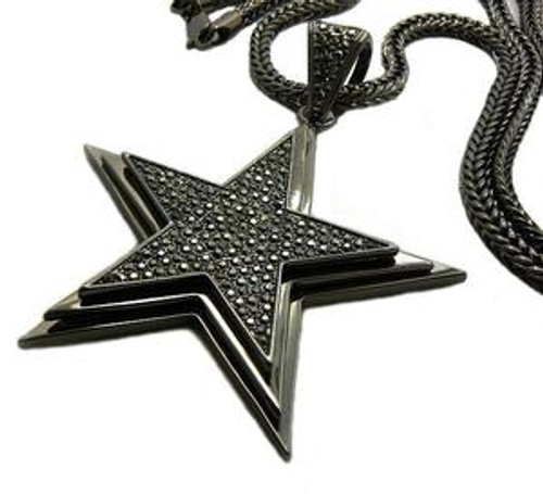 """Black Star FULLY ICED OUT in 3D w/ FREE 36"""" Franco chain"""