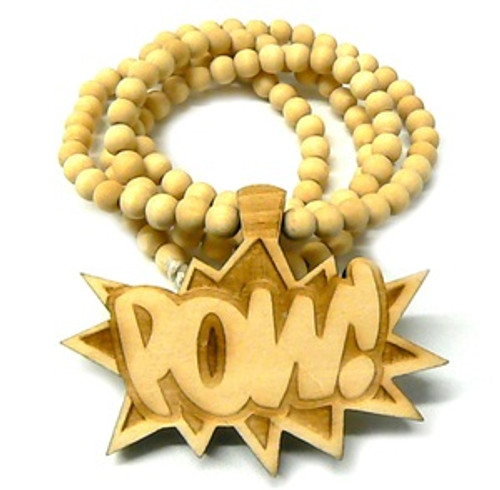 """""""Good Wooden NATURAL WOOD """"POW"""" Pendant w/36"""" beaded chain"""