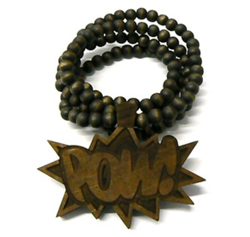 """""""Good Wooden BROWN """"POW """" Pendant w/36"""" beaded chain"""