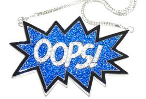 """Chris Brown Large ""OOPS BLUE Pendant w/ FREE 36"" Brick chain"