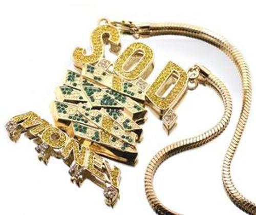 """Gucci Mane GOLD / GREEN  pendant BRICK SQUAD NEW. FREE 36"" FRANCO CHAIN #1 SELLER"
