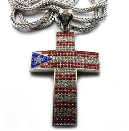 """""""Puerto Rico Iced Out Bling Cross w/ FREE 36"""" Chain"""