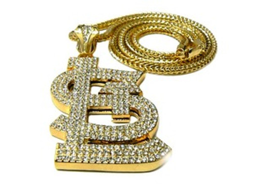 """""""Fully Iced Out St.Louis-GOLD Hip Hop Pendant w/FREE 36"""" GOLD Chain"""