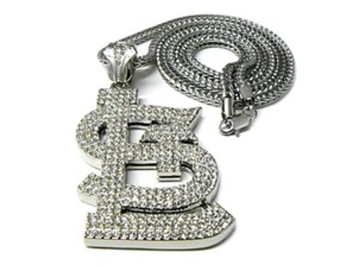 """""""Fully Iced Out St.Louis-SILVER Hip Hop Pendant w/FREE 36"""" SILVER Chain"""
