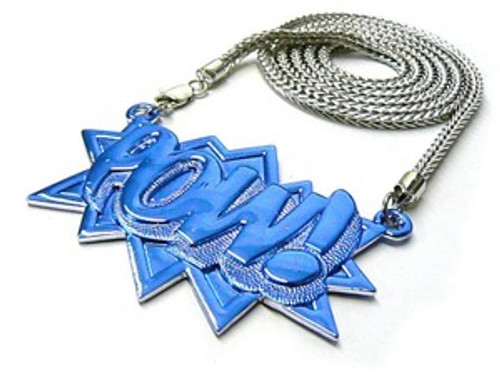 """POW All Iced OUT BLUE/ Japan  Piece w/FREE 36"""" Chain"""
