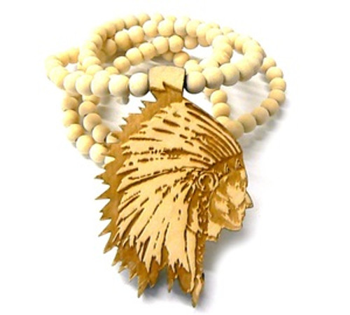 """""""AMERICAN INDIAN CHIEF-NATURAL Wooden Pendant w/FREE 36"""" Beaded Chain"""