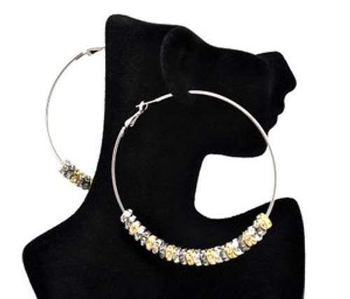 """Basketball Wives Earrings-Silver & Gold Hoops"
