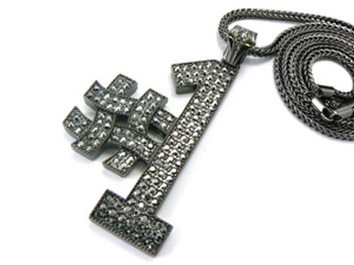 #1 Black Iced Out Pendant