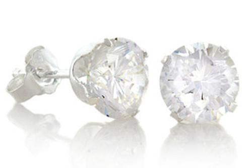 """April Diamond Birthstone Round CZ Gangsta Silver Stud Earrings"