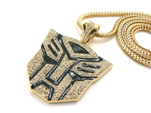 """""""14K Iced Out Gold Tone Black Transformers Chain"""