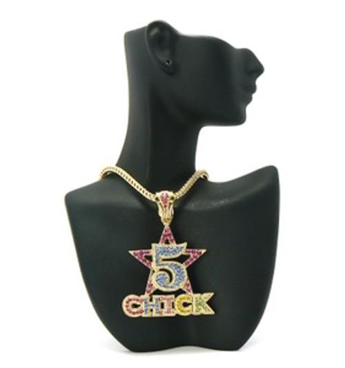 """""""5 Star Chick Pendant Gold/multicolor w/FREE Chain"""