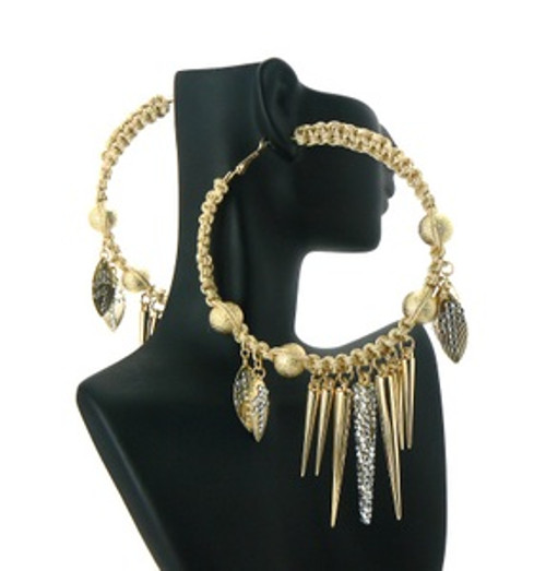"""Basketball Wives Earrings-Gold Ice Hoops"