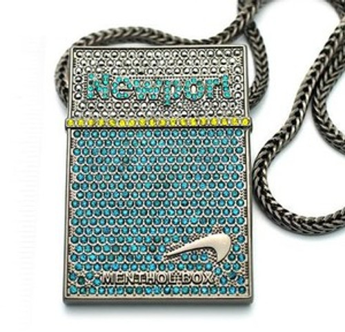 """ICED OUT NEWPORT CIGS /Black hematite NEW PIECE & FRANCO CHAIN 3""x 2"" large pendant"
