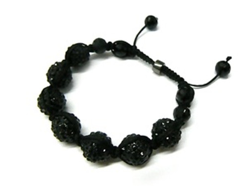 """BABY SHAMBHALA BEAD BLACK SHADOW JAY-Z SPEED CRYSTAL BRACELET/REG.$89.99"