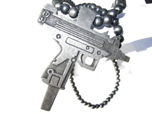 """UZI Machine Gun-Black Good Wood Pendant & Chain"