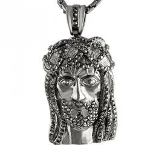 """Large Dark Silver With Micro Pave Stones Jesus Face Pendant"