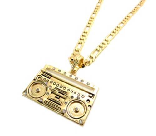 """BIG BOOM BOX PENDANT-14k Gold Plated w/FREE 36"" Chain"
