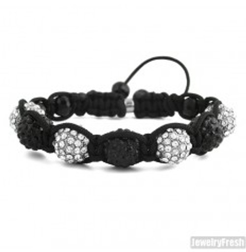"""Black & White Custom Iced Shambhala Bracelet"