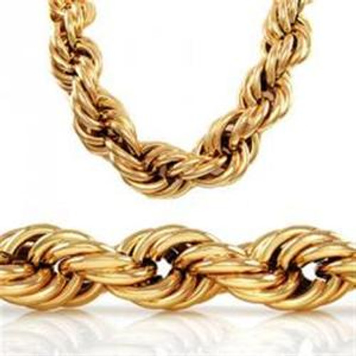 "20MM x36"" ""GOLD PLATED  FAT HIP HOP ROPE CHAIN"