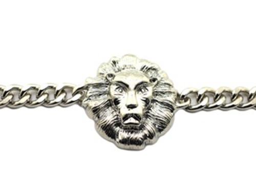 """Lionhead Silver Single Row Bracelet"