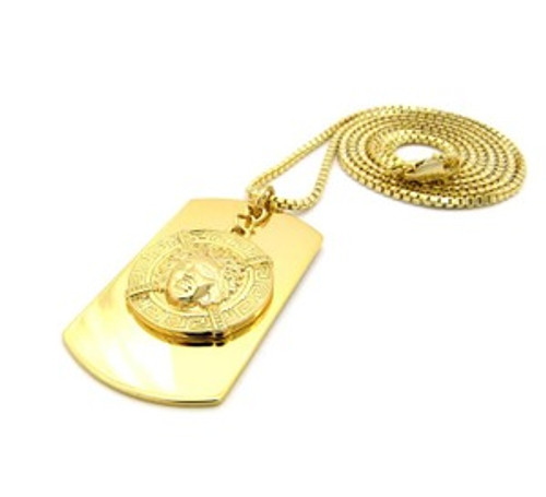 """1-Versace Style Dog Tag-Gold"