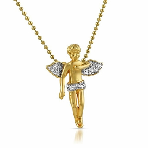 Cherub Angel CZ Gold w/FREE Chain-HOT Gift idea!