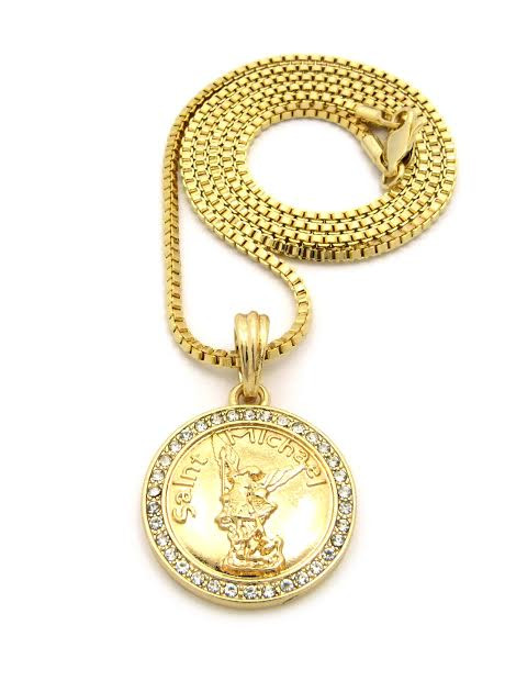 Saint michael gold coin pendant and free 36 gold chain the saint michael gold coin pendant and free 36 gold chain mozeypictures Gallery