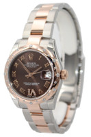 Rolex Oyster Perpetual Datejust - 31mm - Steel and Rose Gold - Chocolate Roman Dial - Diamond Bezel - Oyster Bracelet - Ref. 178341
