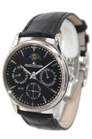 Jaeger Lecoultre - Master Ultra Thin - 39mm- Stainless Steel - Black Dial - Black Leather Strap - Moonphase - Automatic - Ref. Q1308470
