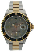 Rolex Oyster Perpetual Submariner Date Watch - Two Tone - Silver Diamond Dial - Black Bezel - Ref. 16613