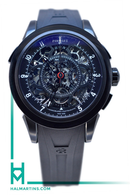 Perrelet Split Second Chronograph Rattrapante Black Skeleton Dial