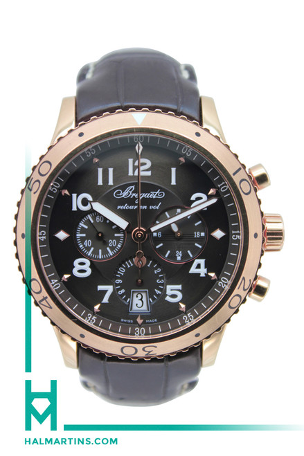 Breguet Men's Transatlantique 18K Rose Gold Chronograph - Ruthenium Arabic Dial - Ref. 3810BR