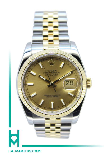 Rolex Men's Two Tone Dateust - Champagne Baton Dial - Ref. 116233