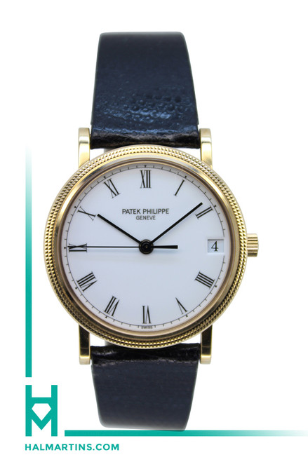 Patek Philippe Geneve 18K Rose Gold Calatrava - Black Leather Strap - Ref. 3802/200
