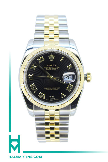 Rolex Men's Two Tone Datejust - Black Sunburst Roman Dial - Ref. 116233