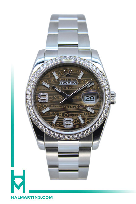Rolex Stainless Steel Datejust - Diamond Bezel and Brown Wavy Diamond Dial - Ref. 116234