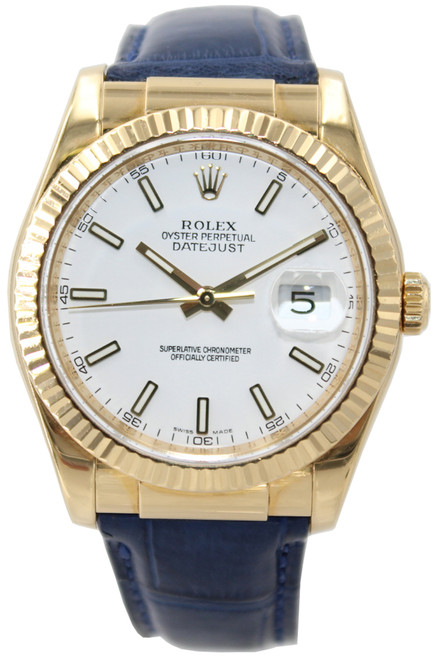 Rolex Oyster Perpetual Datejust - 36mm - 18k YG -  White Dial and Blue Leather Strap - Ref. 116138