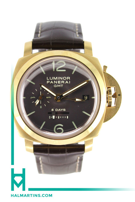 Panerai 18K Rose Gold Luminor 8 Days GMT - Chocolate Dial Manual Wind - Ref. PAM 289