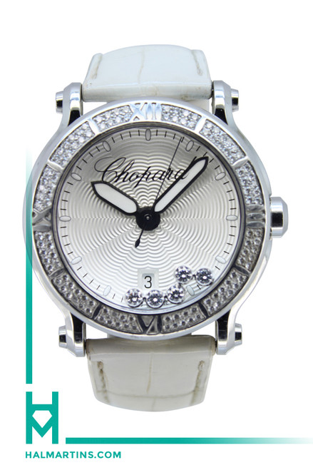 Chopard Ladies SS Happy Sport Diamond XL Quartz - White Dial - Ref. 288525-3003