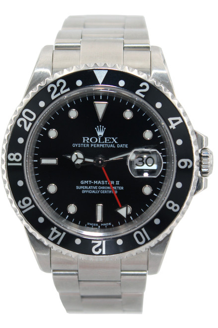 Rolex Stainless Steel GMT Master II - Black Dial and Black Bezel - Ref. 16710