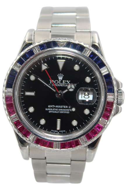 Rolex Oyster Perpetual GMT Master II - 40mm - Stainless Steel - Ruby and Sapphire Bezel - Oyster Bracelet - Ref. 16710