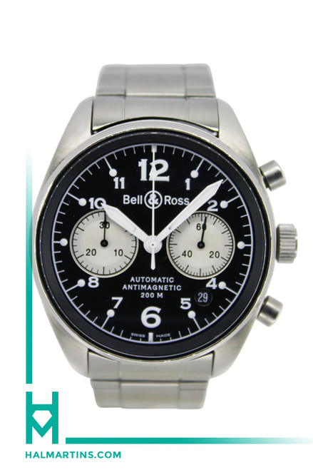 Bell & Ross Officer Automatic Chronograph - Men's Stainless Steel - 41mm Black Dial