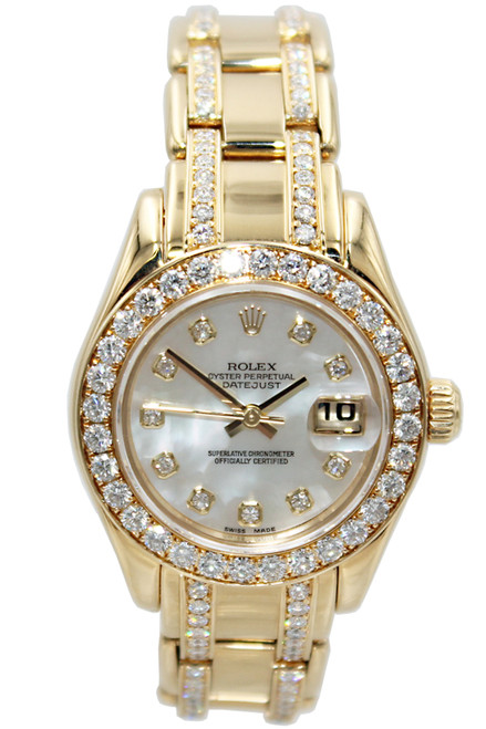 Rolex Masterpiece Oyster Perpetual Lady-Datejust Pearlmaster - 18k YG - 29mm - Mother of Pearl Diamond Dial - Diamond Bezel - Ref. 80298.74948 md