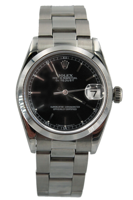 Rolex Stainless Steel Midsize Datejust - 31mm - Black Index Dial - Smooth Bezel - Oyster Bracelet - Ref. 68240