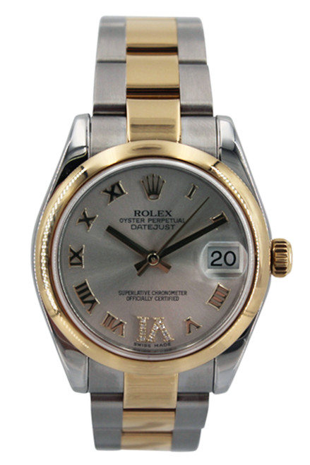 Rolex Two Tone Midsize Datejust - 31mm - Silver Roman Diamond Six Dial - Smooth Bezel - Oyster Band - Ref. 178243
