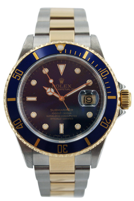 Rolex Two Tone Submariner Date - Blue Bezel and Blue Dial - 40mm - Ref. 16613